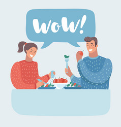 romantic couple sitting in cafe - sharing a bottle vector image