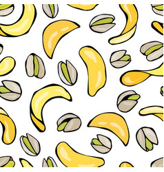 seamless with shelled pistachio nuts and potato vector image