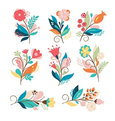 Set cute cartoon flowers vector