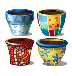 set of bright stylish ceramic flower pots isolated vector image