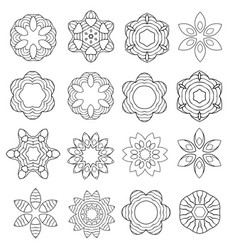 set of cartoon contour flowers isolated on white vector image