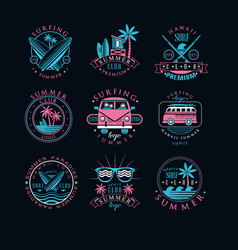 set of vintage logos for surfing club vector image
