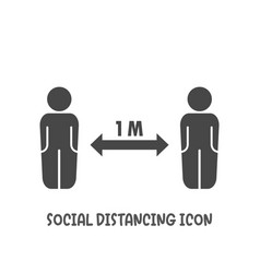 social distancing 1 meter icon simple flat style vector image