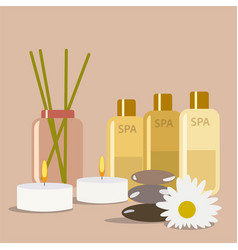 spa still life aromatherapy candle and cream oil vector image
