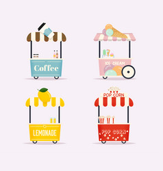 street food cart urban landscape flat design vector image