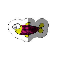 Surprised balloon fish cartoon icon vector