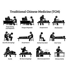 Tcm traditional chinese medicine icons vector
