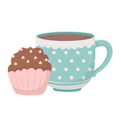 tea time cup and sweet cupcake in dish design vector image