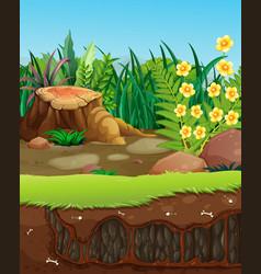 Underground hole in garden vector