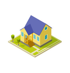 urban cottage exterior simple isometric house vector image