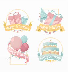 Variety happy birthday set vector