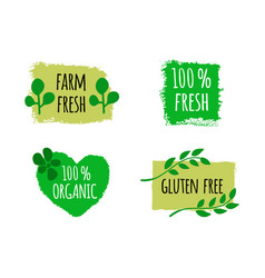vegan menu set of bio healthy food logos badges vector image
