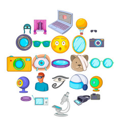 visibility icons set cartoon style vector image