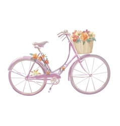 Watercolor of a pink bicycle with vector image