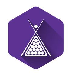 white billiard cue and balls in a rack triangle vector image