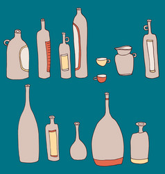 Wine bottles and cups set vector