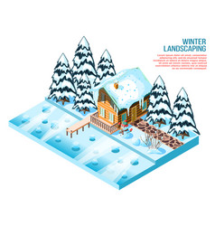 winter landscaping isometric composition vector image