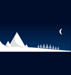 winter night in the mountains vector image