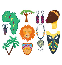 africa icons jungle tribal and maasai vector image