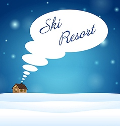 Alone house on snow think about ski resort vector image