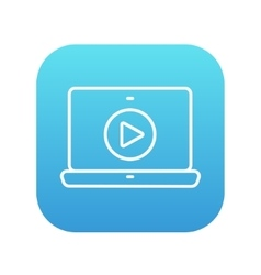 Laptop with play button on screen line icon vector image vector image