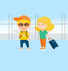 man and woman at the airport vector image