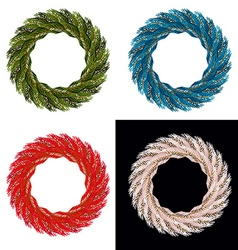 Set Christmas wreath Blue ornament for Christmas vector image