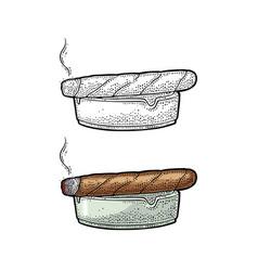 smoking cigar and ashtray vintage vector image vector image