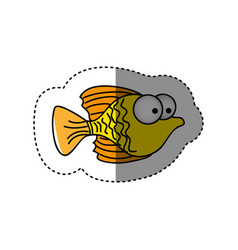 surprised fish cartoon icon vector image vector image