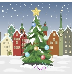 winter day in small town with Christmas tree vector image