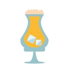 Glass drink beverage liqueur ice foam vector