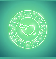 happy valentines day with arrowed heart green neon vector image