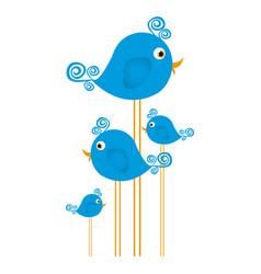 blue cute cartoon birds set with swirl feathers vector image