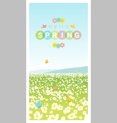 Hello spring landscape background 2 vector image vector image