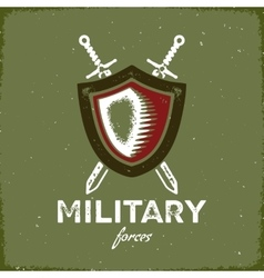 Vintage military label with shield and crossed vector image