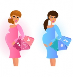women awaiting baby boy girl vector image vector image