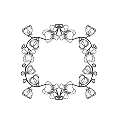 Black line frame with flowers vector image vector image