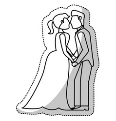 couple wedding romantic outline vector image