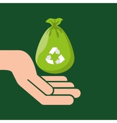 Plastic bag recycled hand hold icon vector