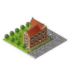 retro isometric country house vector image vector image