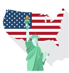statue of liberty with american map design vector image