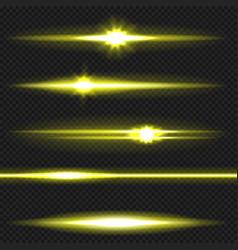 Yellow laser beams pack vector