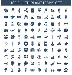100 plant icons vector