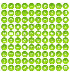 100 victory icons set green vector