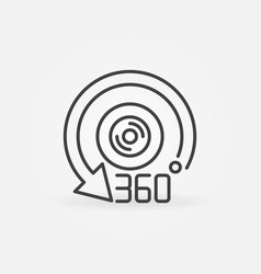 360 camera outline icon - 360-degree lens vector