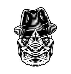 a rhinoceros in hat vector image