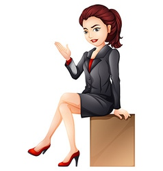 A woman sitting down vector image