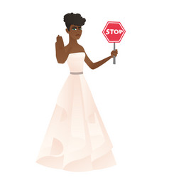 African-american fiancee holding stop road sign vector