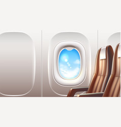 airplane window porthole travel and tourism vector image