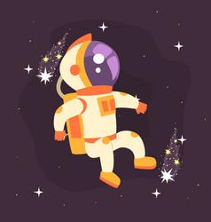 Astronaut in space suit working in deep space vector